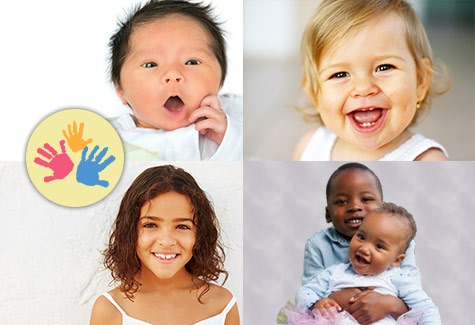 photo of 5 multicultural children of diverse ages in a collage